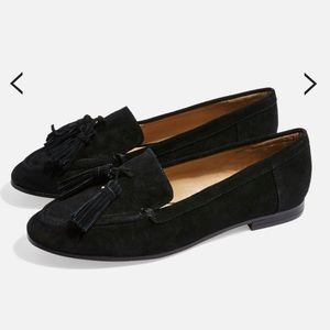 Topshop Black Tassel Suede Loafers Flats Shoes